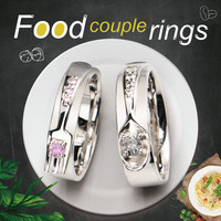 Foodie Couple rings fork and Spoon lovers rings 925 Silver designer Jewelry for men and women
