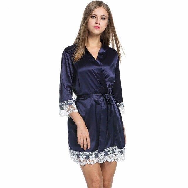 Сексуальный Секрет Женщины Пижамы Кимоно Халат Мягкая Шелковой Ночной Рубашке Слип Атласная Пижамы Сна Халат Кружева Пижамы Peignoire Femme L5