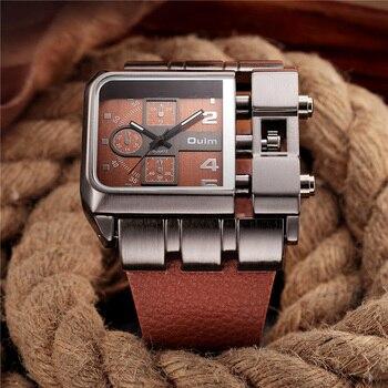 OULM superior de la marca de lujo de relojes para hombre Dial grande de  cuero casuales de los hombres ver Plaza deporte reloj relogio masculino ... 299161780cd9