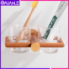 Toothbrush Holder Glass Cup Tumbler Holder Aluminum Wooden Bathroom Accessories Tooth Brush Holder Set Wall Mounted luxury brush tumbler ceramic cup holder antique bronze single toothbrush holder wall mounted ceramic bathroom accessories