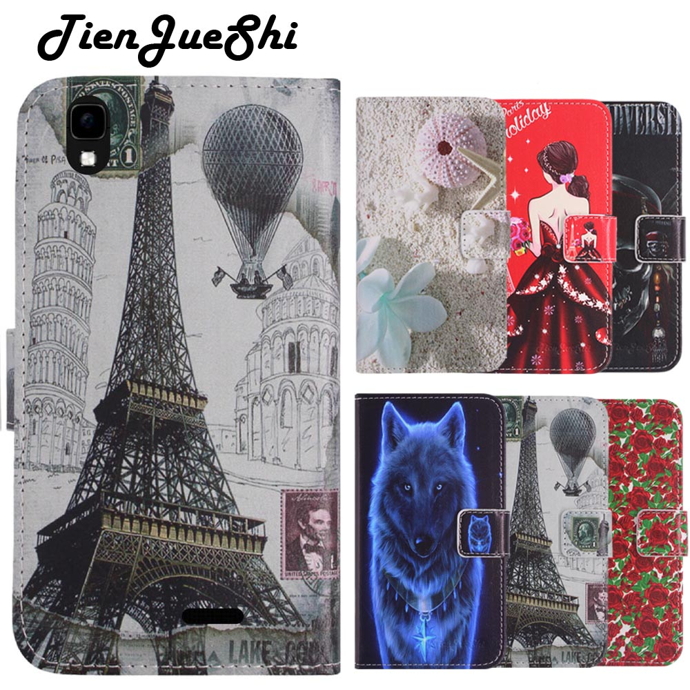TienJueShi Fashion Flip Book Design Protect Leather Cover Shell Wallet Etui Skin Case For Logicom VR bot 552+ 5.5 inch