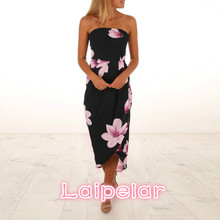 New Print Backless Long Summer Dress Women Floral Off Shoulder Sexy 2018 Strapless Bodycon Beach Vestidos Laipelar