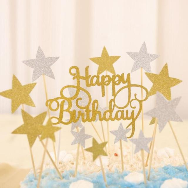 Multi Color Cupcake Cake Topper Happy Birthday Cake Flags Star Heart
