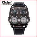 OULM 1140 Men's Cool Sports Casual Quartz Wristwatch Leather Strap Oversize Military Sub Dials Compass Dual Time Japan Movement
