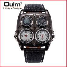 OULM 1140 hombres Frescos de Deportes Reloj de pulsera de Cuarzo Correa de Cuero Ocasional de Gran Tamaño Sub Diales Brújula Militar Dual Time Movimiento de Japón