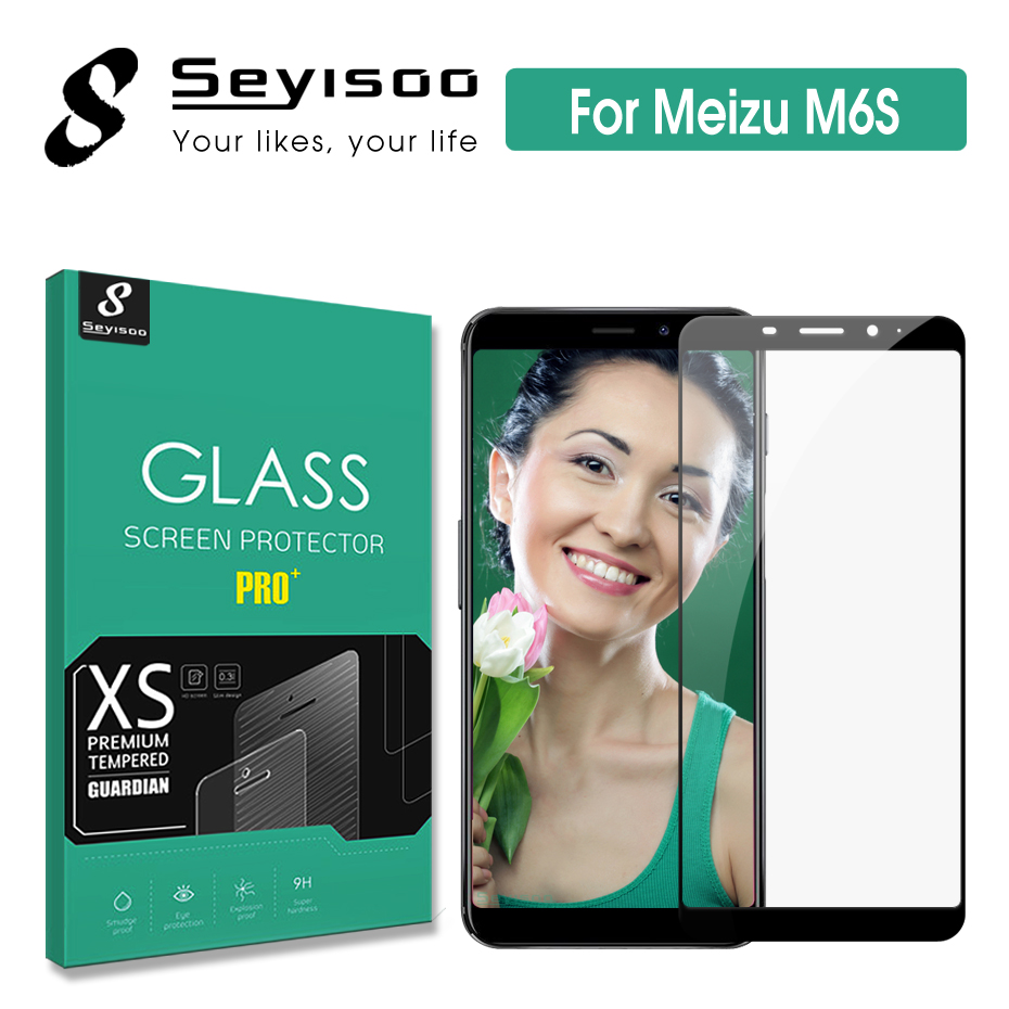Original Seyisoo Real 2.5D 9H 0.3mm Full Cover Screen Protector Tempered Glass For Meizu M6S M6 S Meilan S6 Charm Blue S6 Film