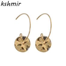 Simple fashion geometrical irregular earrings personality small round piece of metal stud