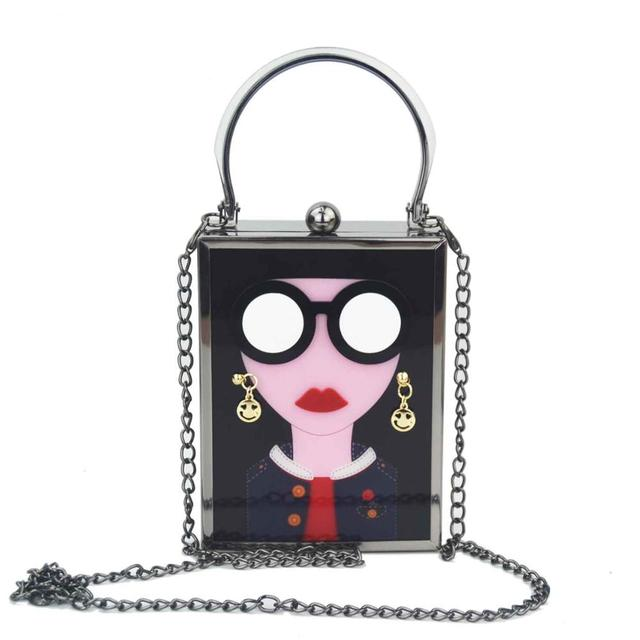 Brand Luxury White Acrylic Evening Bag Women Funny Cute HandBags Glasses Girls Chain Day Clutch Vintage Red Mini Party Purse 3