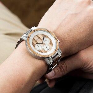 Image 5 - BOBO BIRD luxury Stainless Steel Wood Watches Men Chronograph Date Display Quartz Wristwatches Relogio Masculino Dropshipping