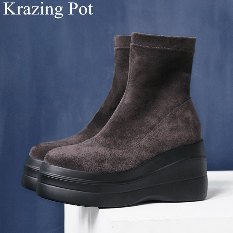 2018 new arrival round toe wedge ankle boots super high elegant fashion strech boots runway platform keep warm winter shoes L38 2018 new arrival genuine leather zipper runway autumn winter boots round toe high heels keep warm elegant women ankle boots l29
