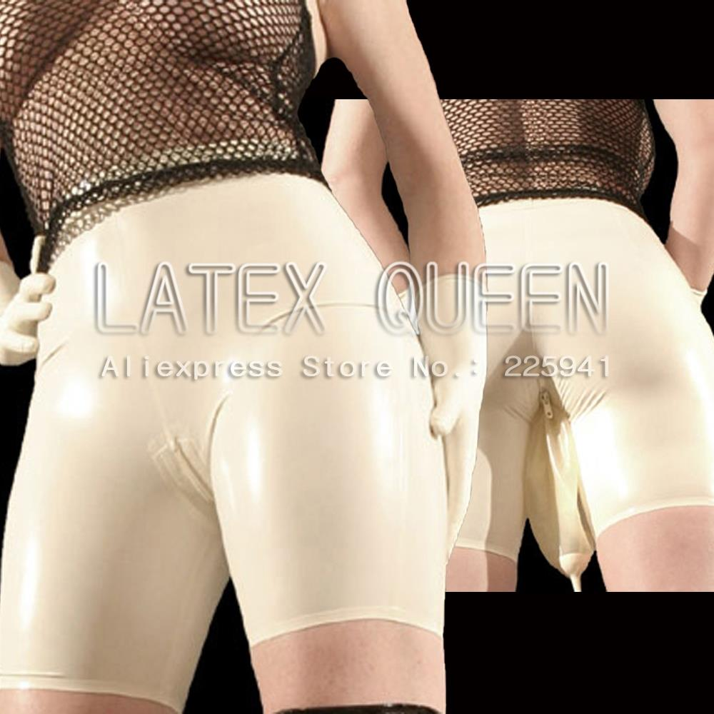 Rubber Latex Shorts With Urine Bag