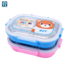 304 Stainless Steel Insulated Lunch Box Children Divided Plate School Anti-scald Cartoon Cute Dinnerware Camping Food Container(China)