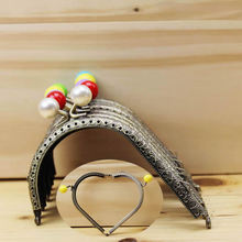 12pieces/lot ,10.5cm Multi Colors Heart shape Metal Purse Frame Handle for Bag Sewing Craft, Coin Purse Frames