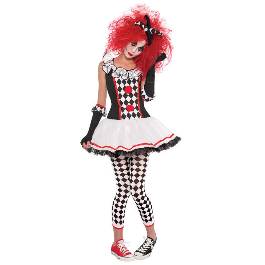 Clown Costume Womens Ladies Female Circus Jester Halloween Fancy Dress Outfit