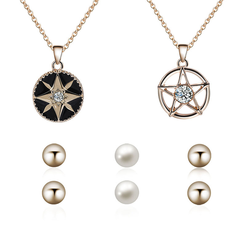 Gold Color Simulated Pearl Jewelry Suit For Women Vintage Hollow Out Star Necklace Earrings Set
