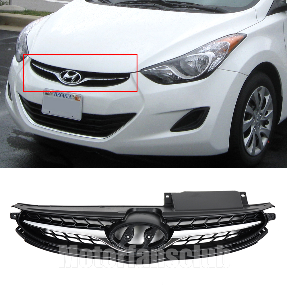 2017 NEW ARRIVAL ABS Chrome Trim Front Bumper Grill Grille For Hyundai Elantra 2011 2012 2013 Matte Black 863503X200