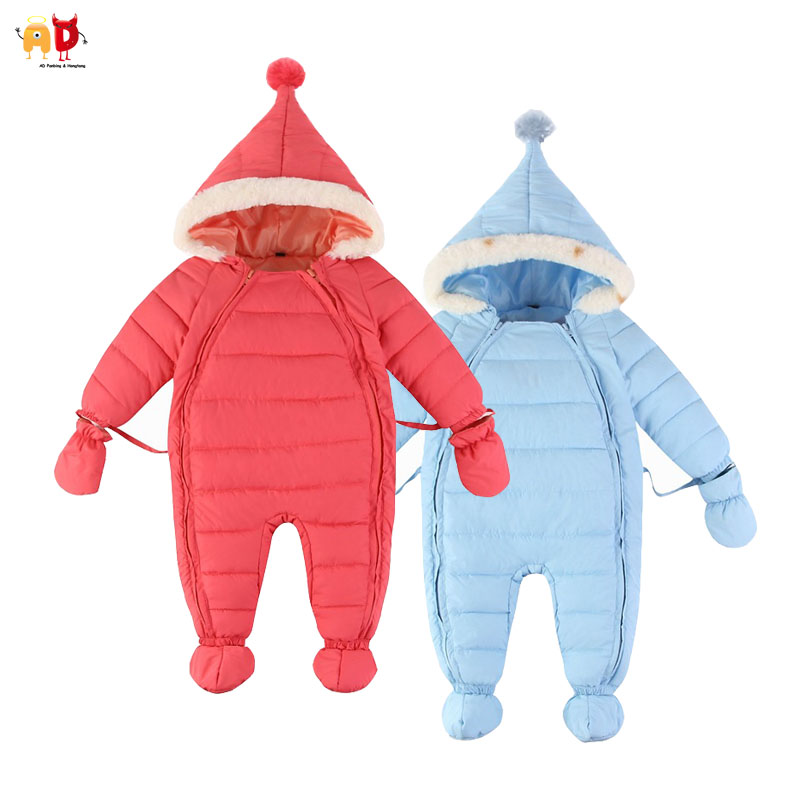 AD Kid Jumpsuit Parkas Infant Snowsuit Down Cotton Baby Rompers Winter Boys Girls Thermal Children Newborn Outerwear One-piece christmas 2017 brand new winter newborn infantil baby rompers kid boys and girls clothing real fur jumpsuit down overall jacket