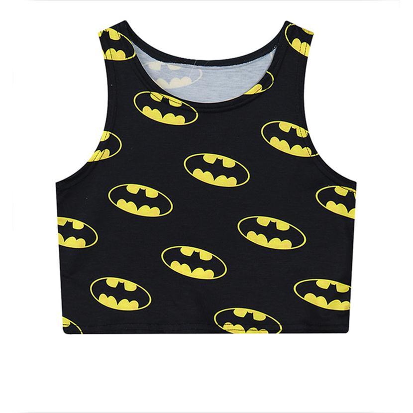 Alisister 2019 black sexy women vest cratoon Batman 3d crop   tops   harajuku fashion hot cropped casual cotton slim   tank     top