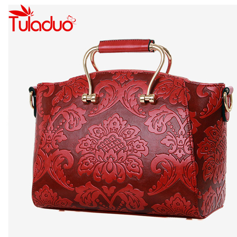 Women Single Casual Tote Crossbody Bags Chinese Style High Quality Flower Iron B