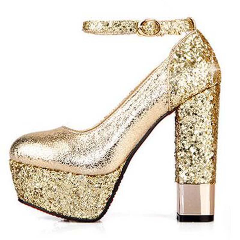 US $32.76 30% OFF Mode hoge hakken dikke hak platform champagne kleur trouwschoenen bruidsschoenen goud formele schoenen maat 34 39 s1180 in
