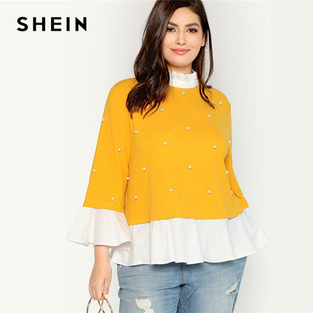 0e389957a5b SHEIN Pearl Beaded Ruffle Stand Collar Butterfly Sleeve Ginger Plus Size  Womens Blouse 2018 Patchwork Ruffle Hem Autumn Blouse