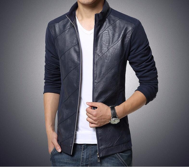 2016 New Fashion Brand Mens Jacket Pu Pachwork Korean Slim