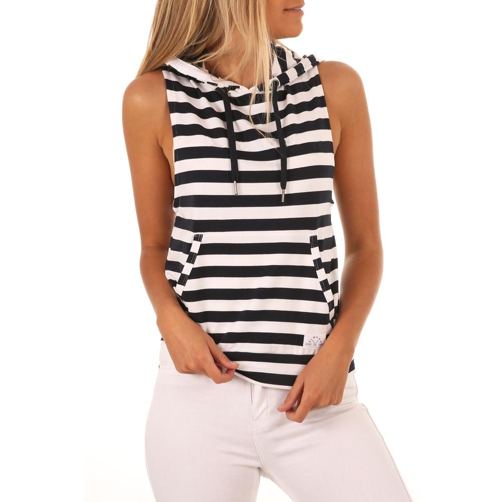 100% Wahr Mode Frauen Tank Top Beiläufige Sleeveless Top Weste Damen Sommer Kapuzen-shirt Schwarz Streifen Tops