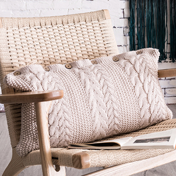 Cream rectangle knit cushion