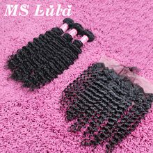 Ms lula hair 7A lace frontal closure with bundles peruvian virgin hair curly weave human hair with Baby Hair