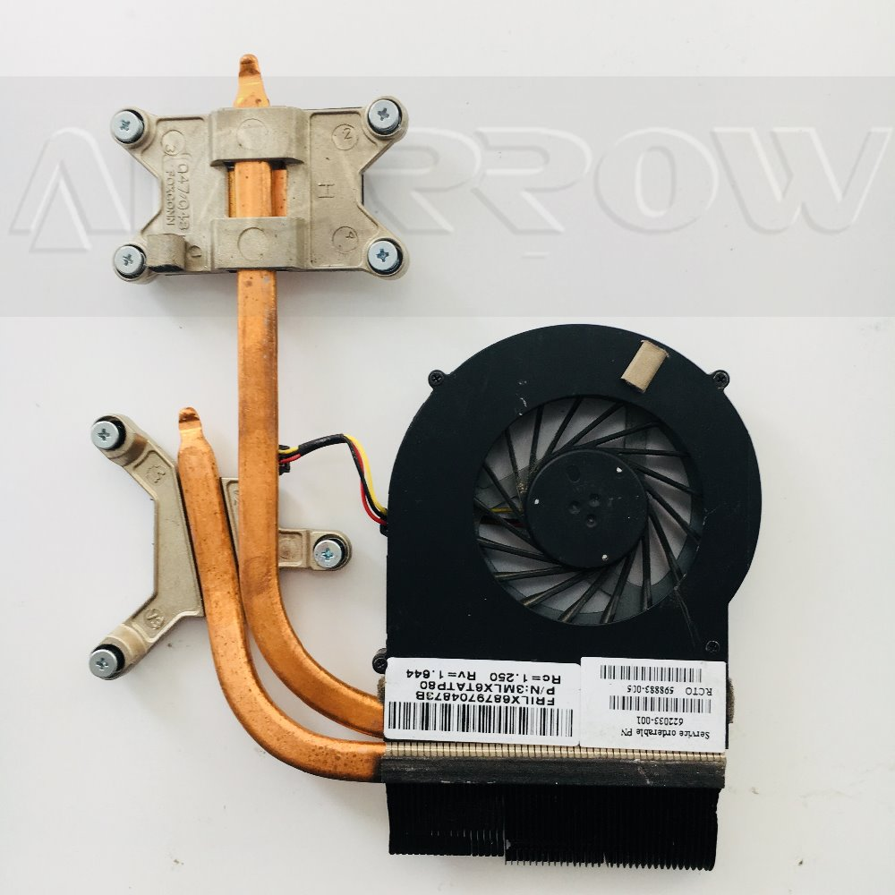 Original For HP Pavilion DV6 DV7 Dv7-4000 DV6-3000 Cooling Heatsink With Fan 622033-001 637610-001 3MLX6TATP80 3MLX6TATPM0