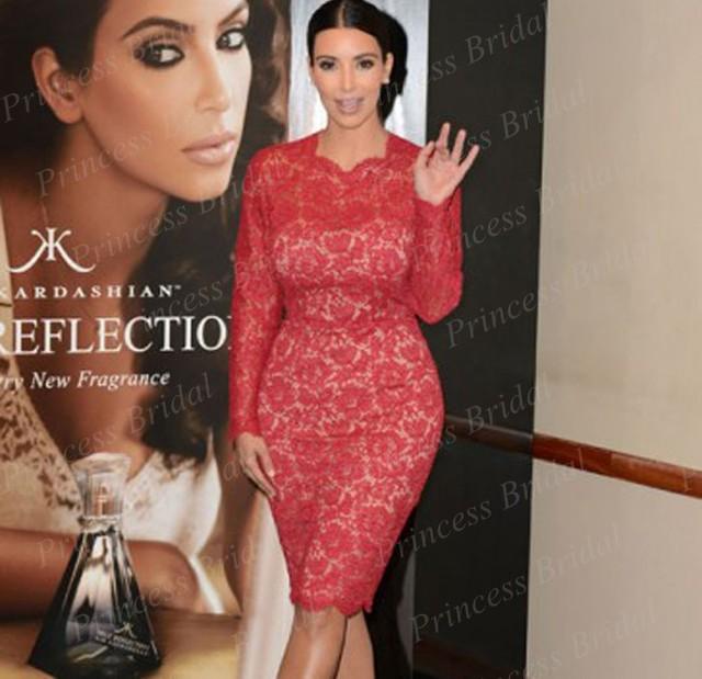 Frete Grátis Hottest Projeto Desconto Atacado Bainha Corpete Cabido Lace Comprimento Do Joelho Vestidos de Celebridades Kim Kardashian MM14396