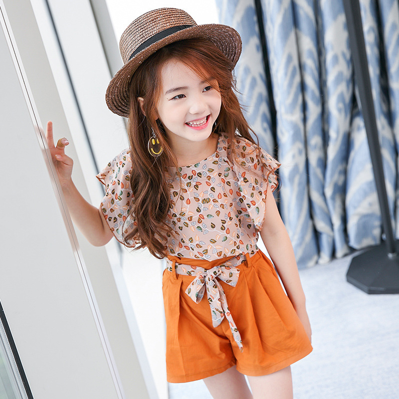 3 4 5 6 7 8 9 10 11 12 Years Girls Clothes Set 2017 Summer Chiffon Print Shirt + Shorts Teenage Girls Fashion Kids Teens Cloth