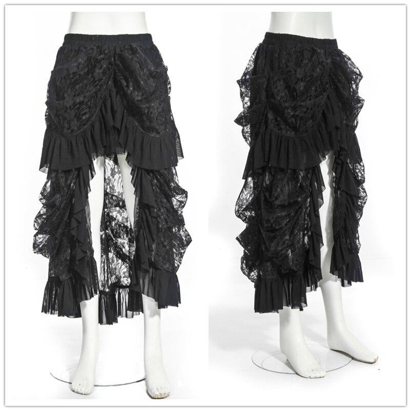 Lange Schwarz Gothic Inspiriert Victorian Saum Party Steampunk Rüschen Rock Treiben Frauen Schwarzes Spitze High Low qFxYAU7x