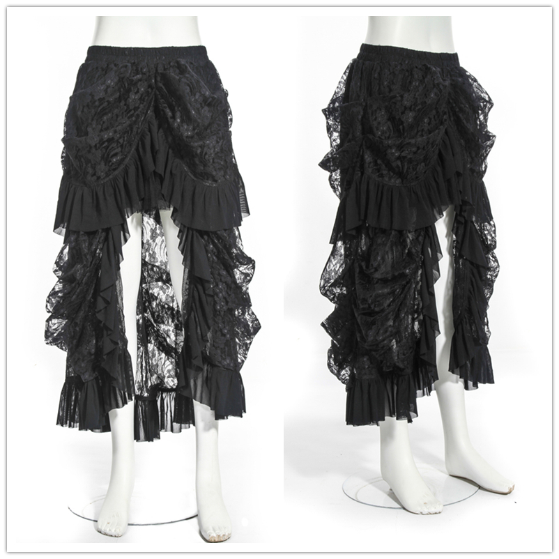 c260e9607d Women Victorian Bustle Inspired Steampunk Gothic Party Black Lace High Low  Ruffle Hem Long Skirt-in Skirts from Women s Clothing on Aliexpress.com