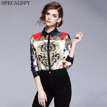 2018 Designer Tops Alta Qualidade Pista Camisa Das Mulheres Longas Da Luva  Da Forma Do Vintage a2f61db9299