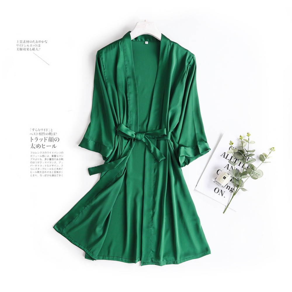Hot Women Robe Silk Satin Robes Wedding Bridesmaid Bride Gown Kimono Solid Robe Sleepwear Nightgown Bridesmaid Robes Size M-XL