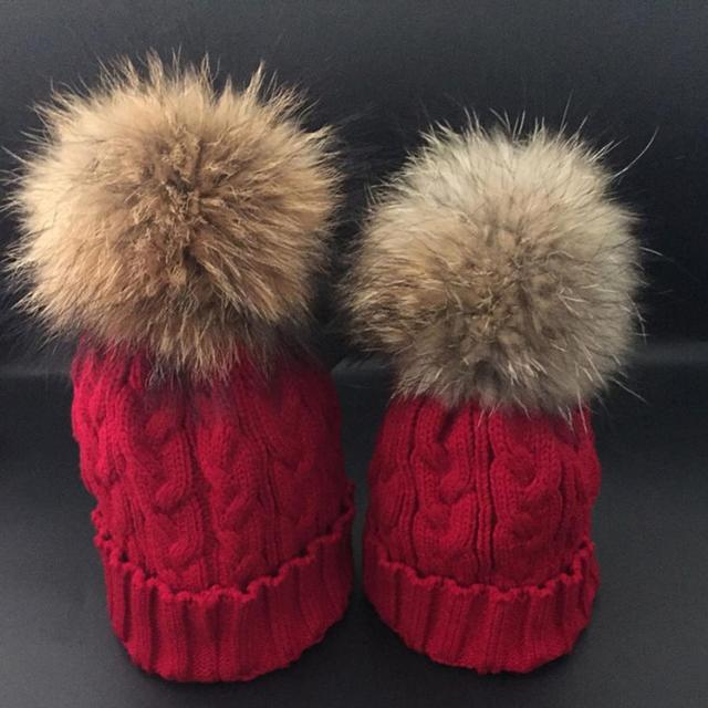 2pcs Mom And Daughter Matching Knitted Beanie Cap Winter Faux Fur Hats Gorro Chapeu Amazing Drop Shipping Wholesale New 2016