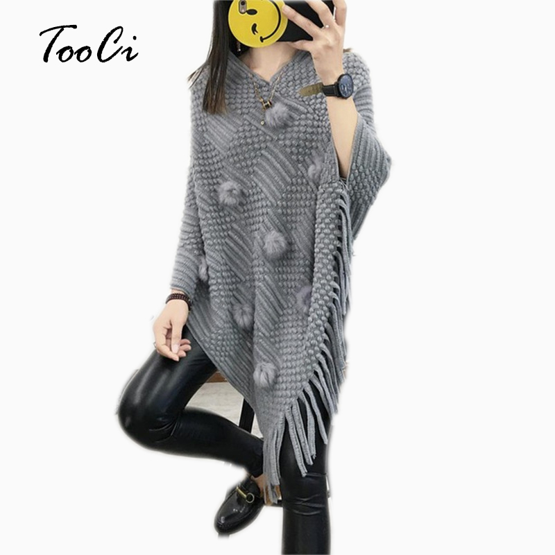Fashion Spring Women Gray Sweater Lady Hairball Tassels Poncho Long Knitted Pullovers Knitted Cape Coat