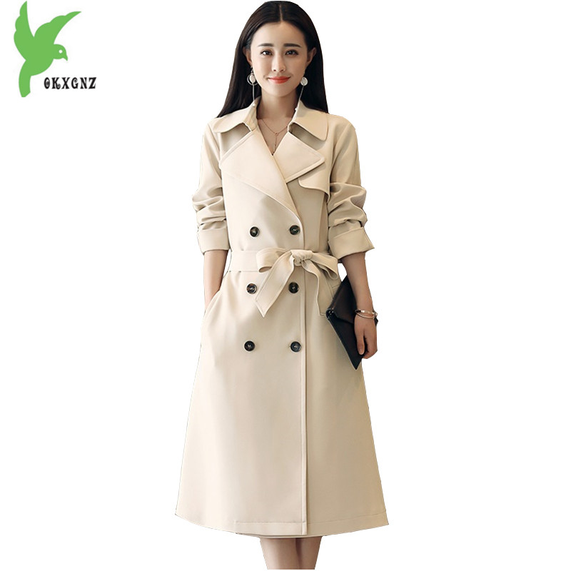 New 2018 Spring Women's Trench Coat Medium length Beige yellow Long Windbreaker Plus size Belt Slim Female Outerwear OKXGNZ 1643