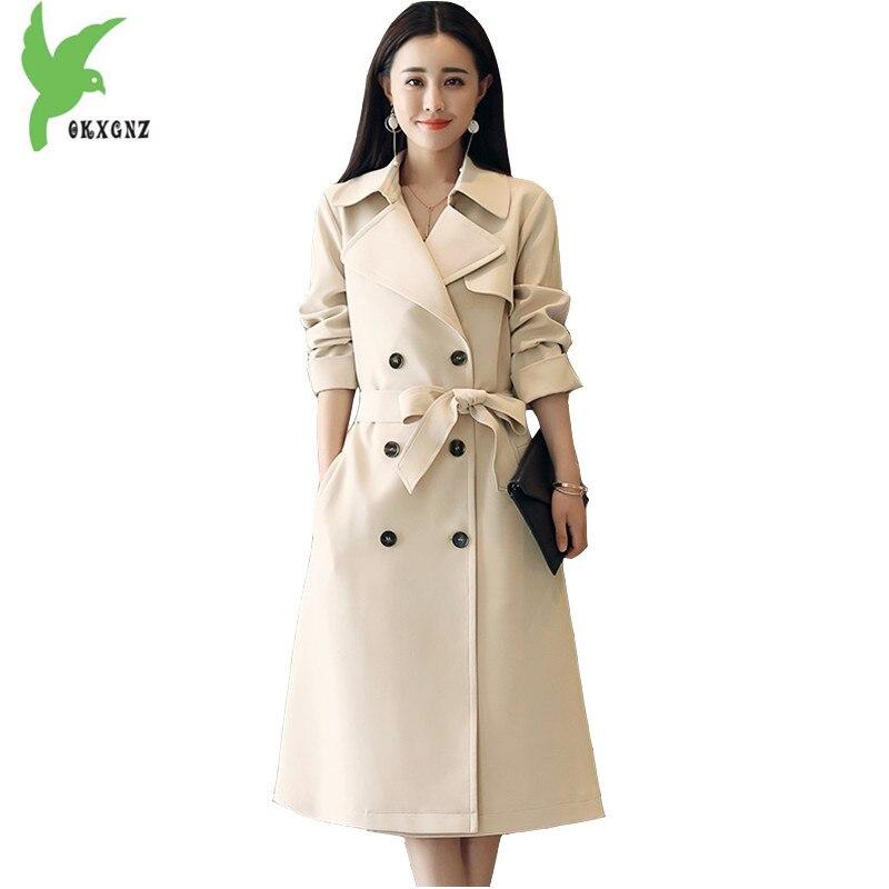 New 2018 Spring Womens Trench Coat Medium length Beige yellow Long Windbreaker Plus size Belt Slim Female Outerwear OKXGNZ 1643