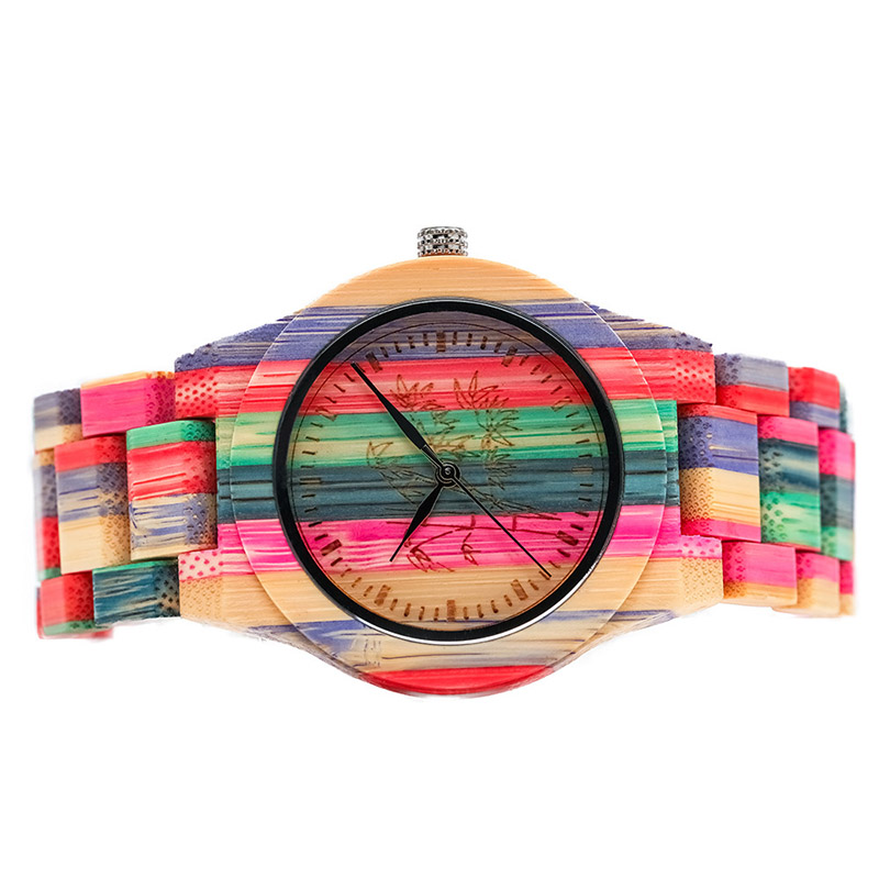 Quartz-Watch Wooden-Strap Wrist Gift Round Women Fashion Lady Colorful NFE99 1pcs Dial