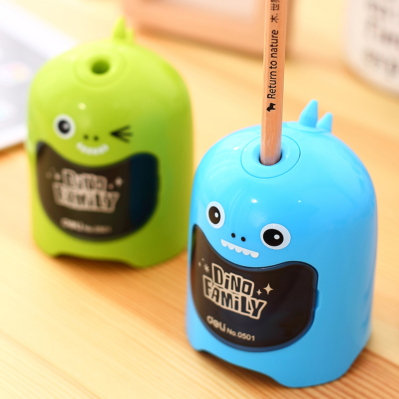 1 pcs electric pencil sharpener fully automatic multi-function pupil sharpener Rotary pencil winch adorable dinosaur modeling