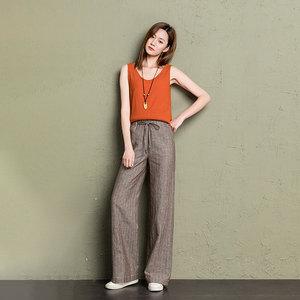Image 4 - cotton linen wide leg pants women 2019 summer striped Breathable plus size harajuku gothic trousers women palazzo pants capri