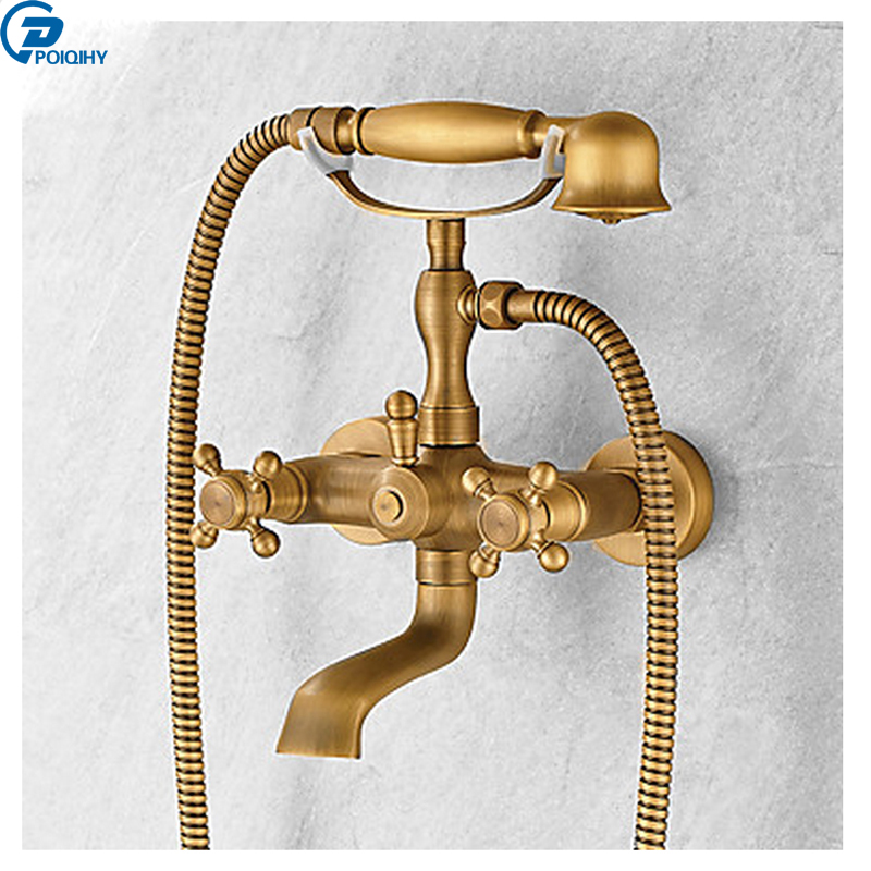 POIQIHY Wall Mounted Centerset Handshower Mixers Taps Antique Brass Waterfall Tub Spout Dual Handles