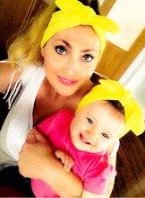 1 UNIDADES Mamá y Yo boho Diadema Turbante Par Set superior Anudada Headwrap Venda de la Manera Fijado Algodón del Bebé y la Mamá conjunto