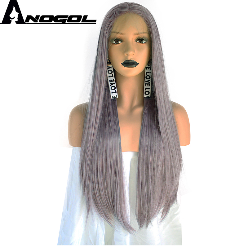 Anogol High Temperature Fiber Perruque Peruca Long Straight Frontal Hair Wigs Purple Syn ...