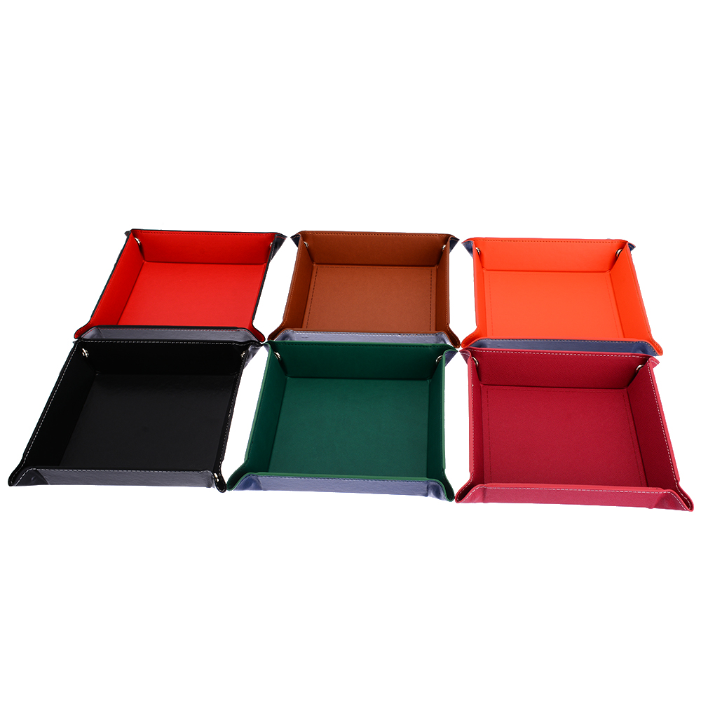 1PC PU Leather Dice Rolling Tray Collapsible Desktop Storage Box For Table Games 7 Colors Available