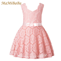 Baby Girls Dresses 2018 New Summer Solid Cotton Lace Lovely Princess A Line Knee Length Dress