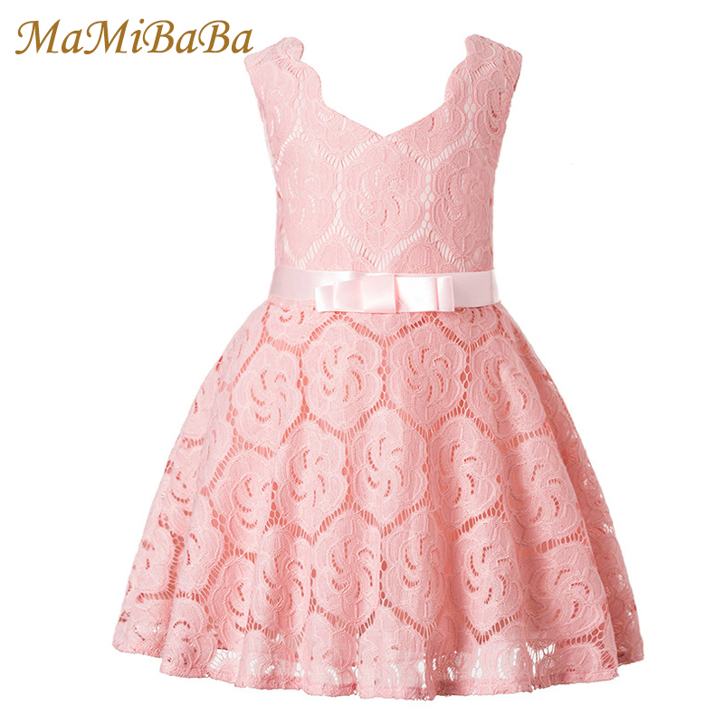 Baby Girls Dresses 2018 New Summer Solid Cotton Lace Lovely Princess A-line Knee-length Dress For 3-16 Year Child Clothing Ds516 azel elegant latest new child dress for 2 3 year old girls vestidos fashion summer kid clothing little girls daily clothes 2017