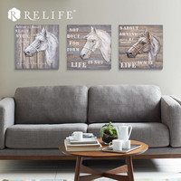 Classical Resin Horse on Wood Oil Painting Room Decorative Wall Panels Nordic Pictures